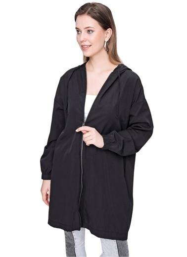 Butikburuç Kadın Siyah Dakron Fermuarlı Ceket Siyah
